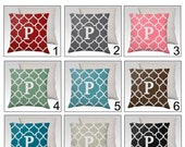 Moroccan Pillow Cover / Case 18X18 Zippered - Your choice custom color - PERSONALIZED Family Name Initial Monogram SUPER Luxurious Soft!