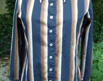 Vintage Blouse 1970's Anne Klein Shirt Mod Striped Cotton Top With Dramatic Pointy Collar Hippie Blouse Size 6