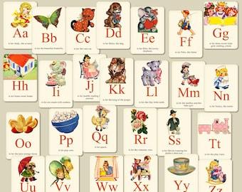 Digital Scrapbooking Vintage Alpha Cards It's Elementary INSTANT DOWNLOAD