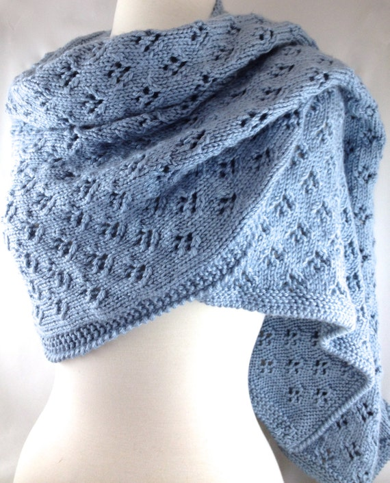 Hand Knit Wrap Womens Lacy Caron Simply Soft Yarn Lt. Country Blue