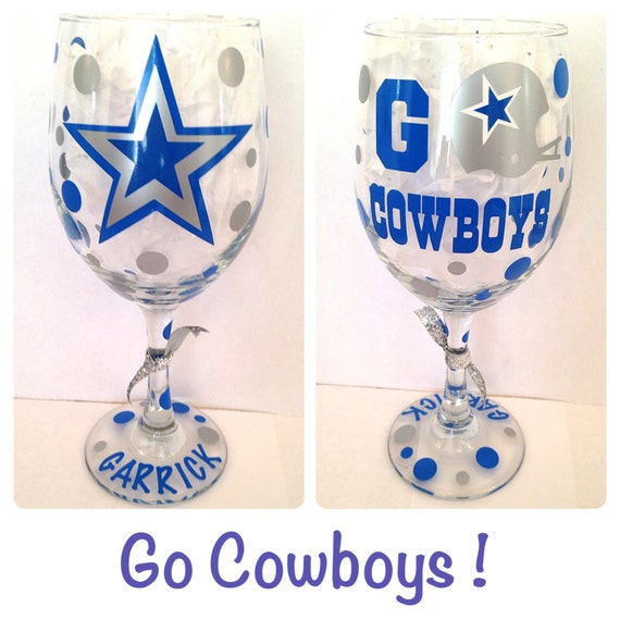 items similar to dallas cowboys wine glass go cowboys can be personalized on etsy. Black Bedroom Furniture Sets. Home Design Ideas
