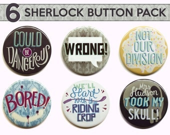 "Sherlock Buttons  // Set of Six 2"" Pinback Buttons // Sherlock Magnets"