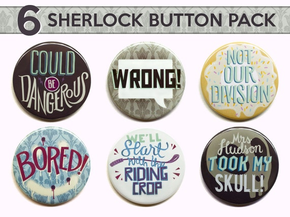 Sherlock Button Set by Pepper's Pins