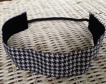 Black White Houndstooth Headband - Womens Wide Headband