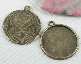 20pcs 22x26mm antiqued bronze color round cabochon settings EF0725