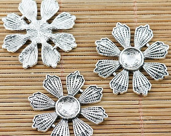 8pcs Tibetan silver beautiful flower cabochon settings EF1287