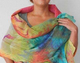 nuno felted silk scarf shawl wrap SUNRISE, handmade, silk wool scarf, nuno felt, eco fashion by Kantorysinska