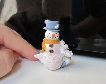 Miniature Teapot Snowman