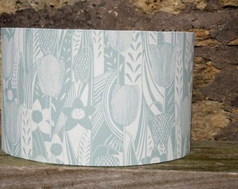 Handmade drum lampshade spring flowers daffodils pale green uk
