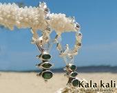 Green Garnet Dangle hoop Sterling Silver Tsavorite Earrings 43 MM