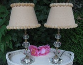Mid Century Lucite Lamps Pair Original Swiss Dot Shades Cottage Chic Shabby Chic Farmhouse - ByTheShoreVintage