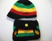 Rastafarian baby prop set. Crocheted baby prop Rastafarian. Color block crocheted photo prop.