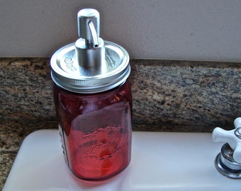 Soap Pump - Hand Made Mason jar Wide Mouth Soap Pump With Mason Jar - Red Color