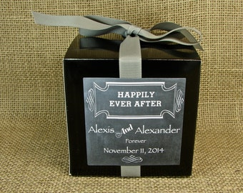 """Wedding Favor or Cupcake Boxes - 24 4x4"""" Boxes With Personalized """"Happily Ever After"""" Chalkboard Labels - Choose Your Box and Ribbon Color"""