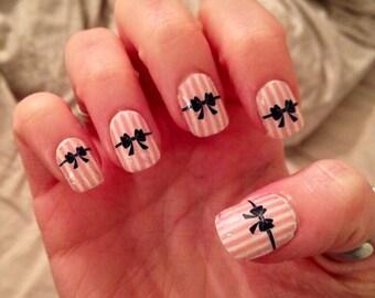 Pink Stripes and Black Bows Nail Wraps