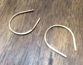 Tiny upside down tear drop hoop earrings 14K gold fill sterling silver horseshoe earrings urban jewelry