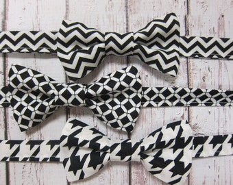 Baby/ Toddler/ Boy Bow Tie- Chevron, Lattice or Houndstooth, YOU CHOOSE with Comfy Adjustable Velcro Strap- black, white