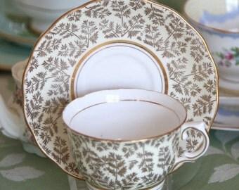 Vintage Colclough China Tea Cup W Saucer - Cream & Gold