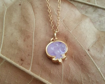 Small Light Purple Pomegranate Pendant, Pomegranate Necklace, 14k Gold filled Necklace, Resin Jewelry