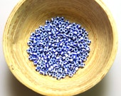 Vintage Venetian White with Blue Stripes Seed Beads size 8/0 10 grams