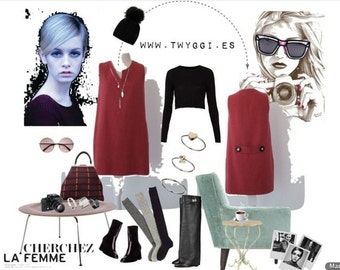 Coral wool Short dress.Luci Lü