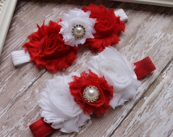 Valentines Baby Headband  Red, White Shabby Chic Flower Headband for Newborn - Infant - Toddler - Girl  - Photo Prop