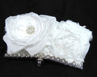 White Rosette Rhinestone Bridal Clutch Wedding Purse