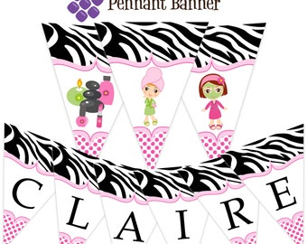 Spa Party Pennant Banner - Hot Pink and Zebra Print, Cute Little Spa Girls Personalized Birthday Party Banner - A Digital Printable File