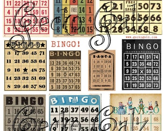 Bingo Cards Digital Collage Sheet