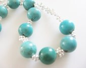 Genuine Arizona Turquoise Sterling Silver Plated Glass Beads Handwoven Bracelet