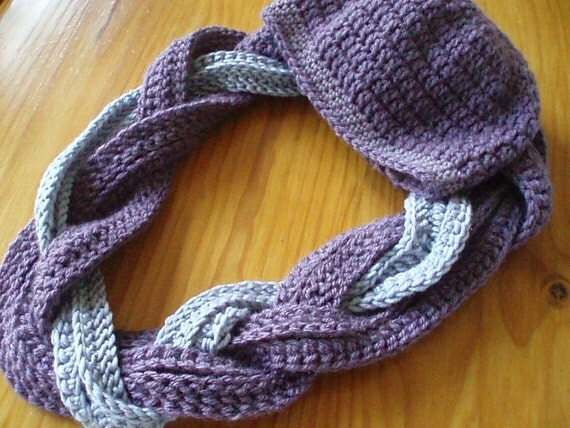 Braided Cowl Scarf and Hat Crochet Pattern.