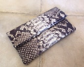 Natural Motif Envelope Python Snakeskin Clutch