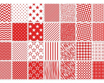 019 MULTISHAPE RED-WHITE digital paper pack for scrapbooking, albums, cards and crafts