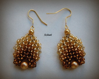 FREE SHIPPING Gold Pearl/Seed Bead Dangle Earrings, Statement Beadwoven High Fashion Jewelry, Women's Beadwork Accessory, Gift for Her, OOAK