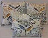 Pillow Cover Dandelion  print  Grey, Charcoal, Mustard, White 100% cotton