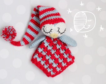 Security Blanket  crochet pattern lovey- Sleepy the Owl