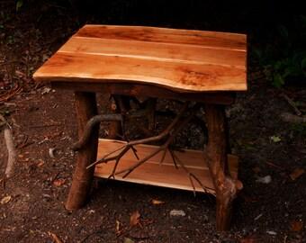 Rustic Tree Wood Handmade Cherry End Table Log Cabin Adirondack Art Furniture FREE SHIPPING