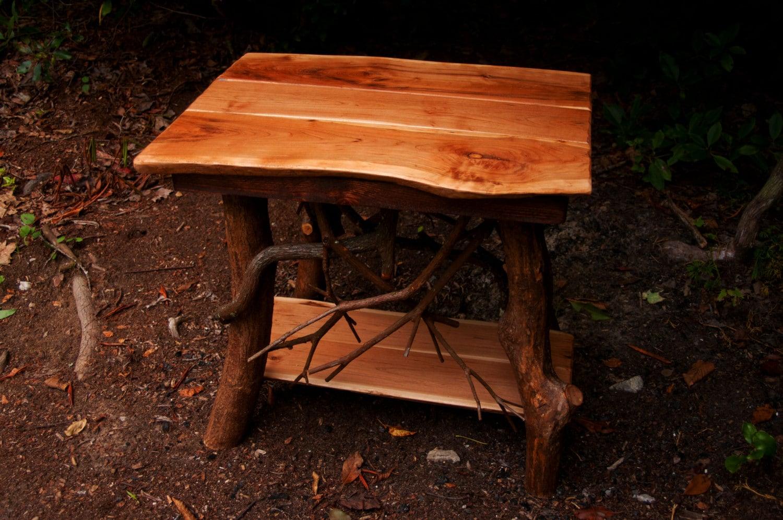 Rustic Tree Wood Handmade Cherry End Table Log Cabin