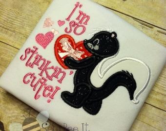 I'm So Stinkin' Cute! Skunk Applique Tee Shirt or Bodysuit