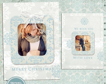 Photoshop Christmas Card Template for Photographers - INSTANT DOWNLOAD