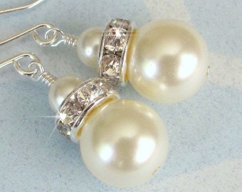 Bridesmaid Earrings, Ivory Pearl and Crystal Bridal Earrings, Bridal Party, Wedding Jewelry, Mother of the Bride, Bridesmaid, Swarovski