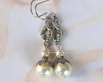 Bridal Pearl Earrings, Vintage Style Pearl Earrings, Antique StylePearl Drops for Bride, Bridesmaids, and Every Day Wear, in White or Ivory