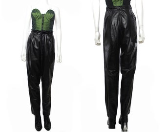 Vtg 80s 90s Black Crocodile Textured  Leather High Waist Harem Pants M