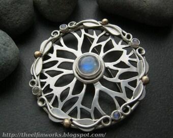 Large round brooch, sterling silver, blue rainbow moonstones, tree branch mandala & leaves, handmade cloak pin shawl fastener