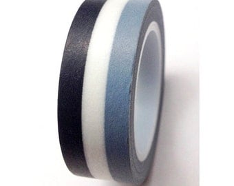 SALE Washi Tape, Monochromatic Stripes  15mm x 10 meters