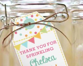 Sprinkle Baby Shower Favor Tags - Unisex Baby Shower Favor Tags - Instant Download and Edit with Adobe Reader