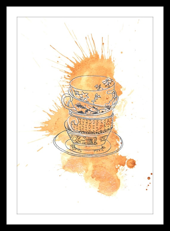Colour art print of original tea and ink painting featuring stacked cups and saucers in a tea 'splat'. A5