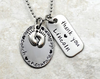 Midwife Doula OBGYN necklace or keychain Stainless Steel Hand Stamped - baby feet-Personalized thank you message Midwife Gift Doula Gift