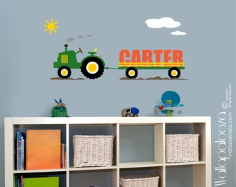 Tractor Wall Decal - Wall decor - Boys Room Wall Decal - Tractor Decor - Farm Wall Decal - Boys Name decal - Personalized Wall Decal