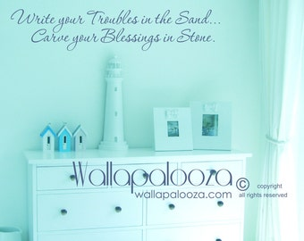 Beach wall decal - Write your troubles in the sand wall decal - beach wall art - beach house wall decal - cottage wall decal - Beach decor